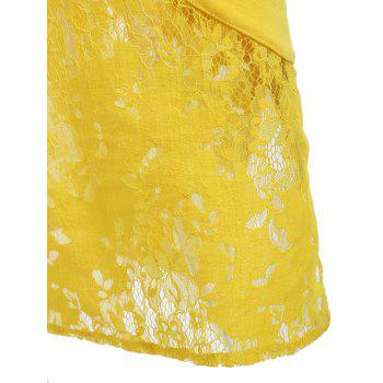 Embroidered Lace Insert Midi Bodycon Dress - YELLOW M