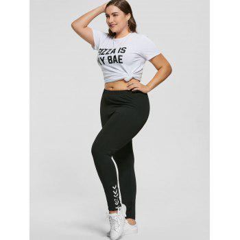 Plus Size Lace Up Skinny Pants - BLACK 5XL