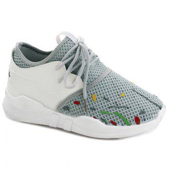Low-top Graffitti Mesh Sneakers - GRAY 37