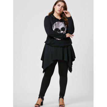 Plus Size Handerchief Skirted Pants - BLACK BLACK