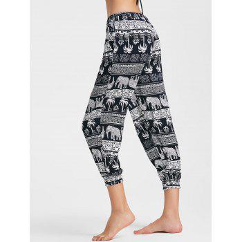 Tribal Printed Capri Jogger Pants - COLORMIX COLORMIX