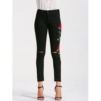 Floral Embroidery Skinny Ribbed Pants - BLACK L