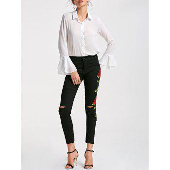 Floral Embroidery Skinny Ribbed Pants - BLACK XL