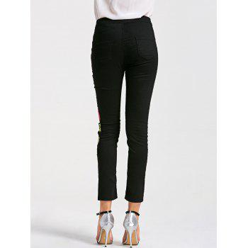 Floral Embroidery Skinny Ribbed Pants - BLACK BLACK