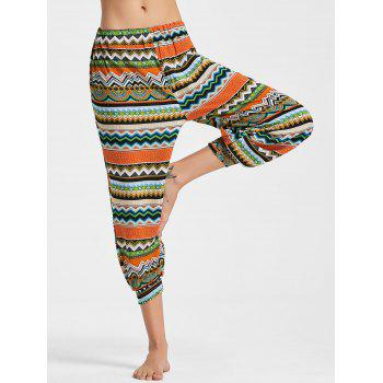 Geometric Printed Capri Jogger Pants - COLORMIX 2XL