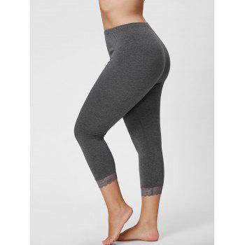 Plus Size Lace Hem Capri Leggings - GRAY XL