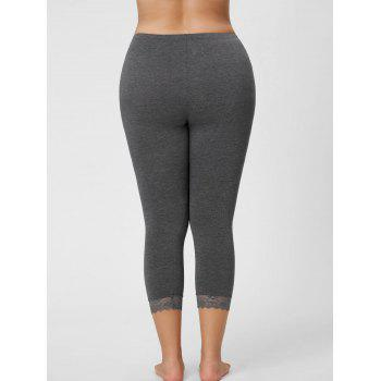 Plus Size Lace Hem Capri Leggings - GRAY GRAY