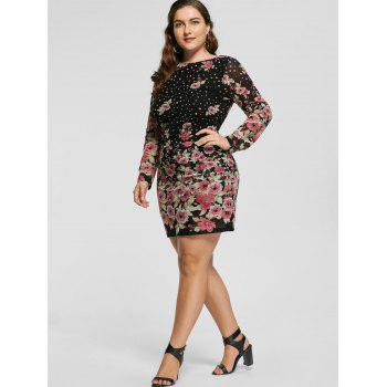 Plus Size Allover Floral Long Sleeve Dress - BLACK 4XL