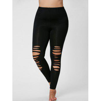 Plus Size Ripped Fitted Leggings - BLACK BLACK