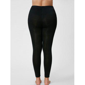 Plus Size Ripped Fitted Leggings - BLACK 4XL