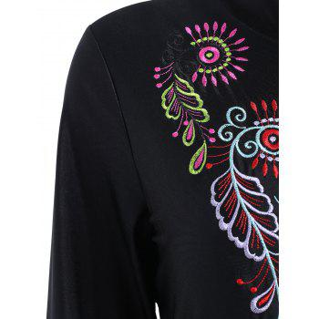 Plus Size Embroidered Long Sleeve Swimsuit - BLACK XL
