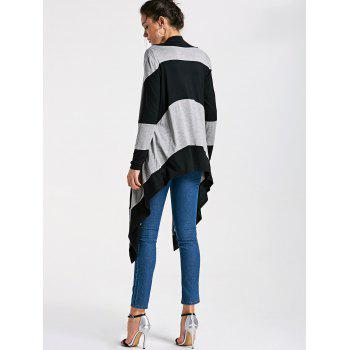 Striped Two Tone Drape Cardigan - STRIPE STRIPE