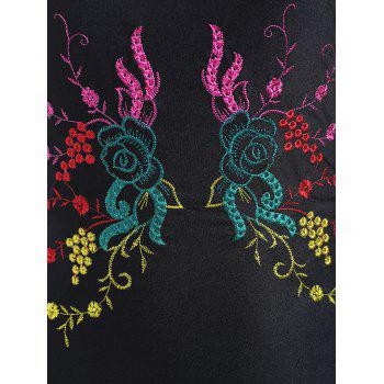 Plus Size Cross Back Embroidered Swimsuit - BLACK BLACK