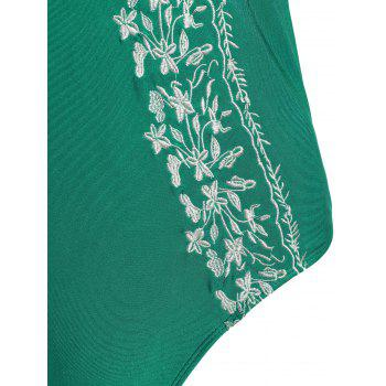 Halter Plus Size Embroidered Swimsuit - GREEN GREEN