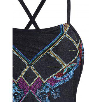 Plus Size Lace Up Embroidered Swimsuit - BLACK BLACK