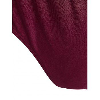 Plus Size Embroidered Long Sleeve Swimsuit - WINE RED WINE RED