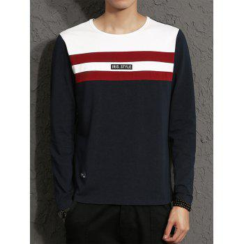 Applique Color Block Stripe Panel T-shirt - CADETBLUE CADETBLUE