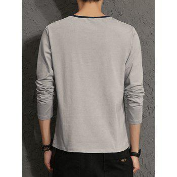 Applique Color Block Stripe Panel T-shirt - GRAY GRAY