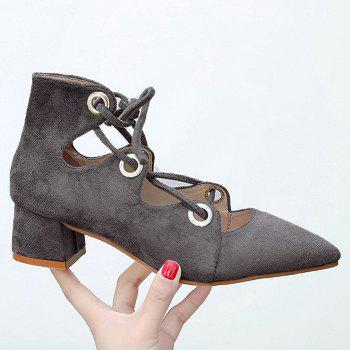 Chunky Heel Pointed Toe Lace Up Pumps - GRAY GRAY