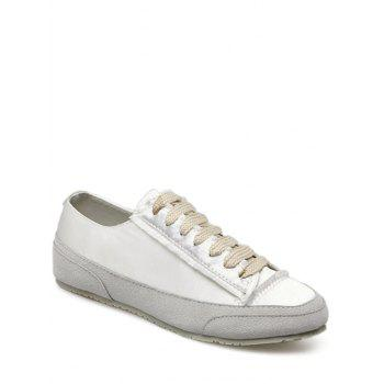 Suede Panel Satin Sneakers - WHITE WHITE