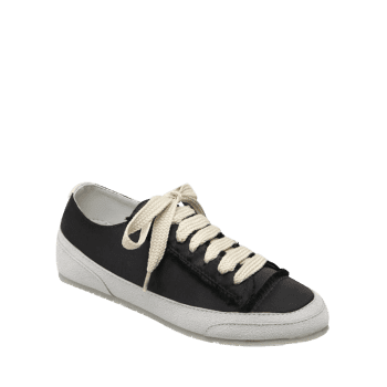 Suede Panel Satin Sneakers - BLACK 39