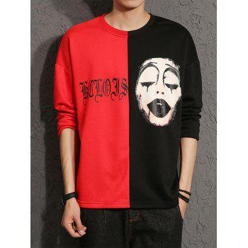 Graphic Grimace Print Color Block Panel T-shirt - COLORMIX COLORMIX