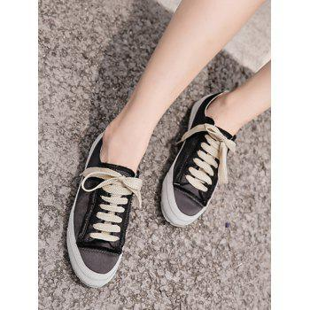 Suede Panel Satin Sneakers - BLACK BLACK