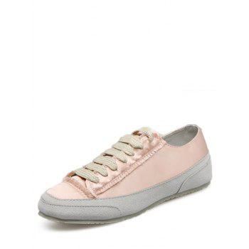 Suede Panel Satin Sneakers - CHAMPAGNE CHAMPAGNE