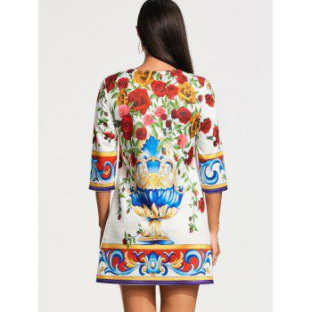 Three Quarter Sleeve Roses Print Tunic Dress - COLORMIX COLORMIX