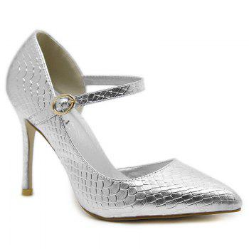 Snake Embossed Buckle Strap Pumps - SILVER SILVER