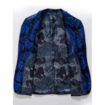 Floral Gilding Flap Pocket Blazer - ROYAL 56