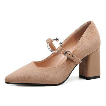 Block Heel Point Toe Suede Pumps - KHAKI KHAKI