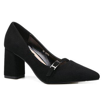 Contrast Buckle Strap Suede Pumps - BLACK BLACK