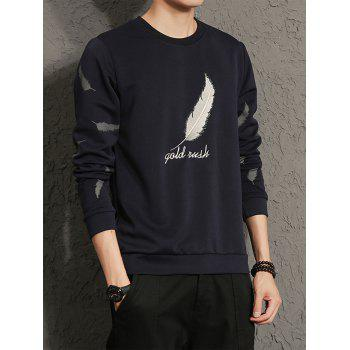 Feather Graphic Embroidered Long Sleeve Sweatshirt - CADETBLUE CADETBLUE