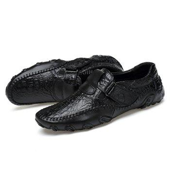 Crocodie Embossed Stitched Casual Shoes - BLACK 44