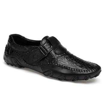 Crocodie Embossed Stitched Casual Shoes - BLACK BLACK