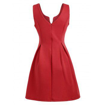 Open Back Sleeveless A Line Dress - RED M