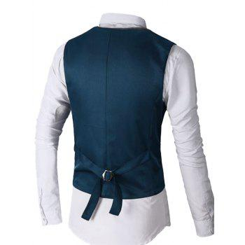 Two Tone Single Breasted Faux Twinset Waistcoat - DEEP BLUE S