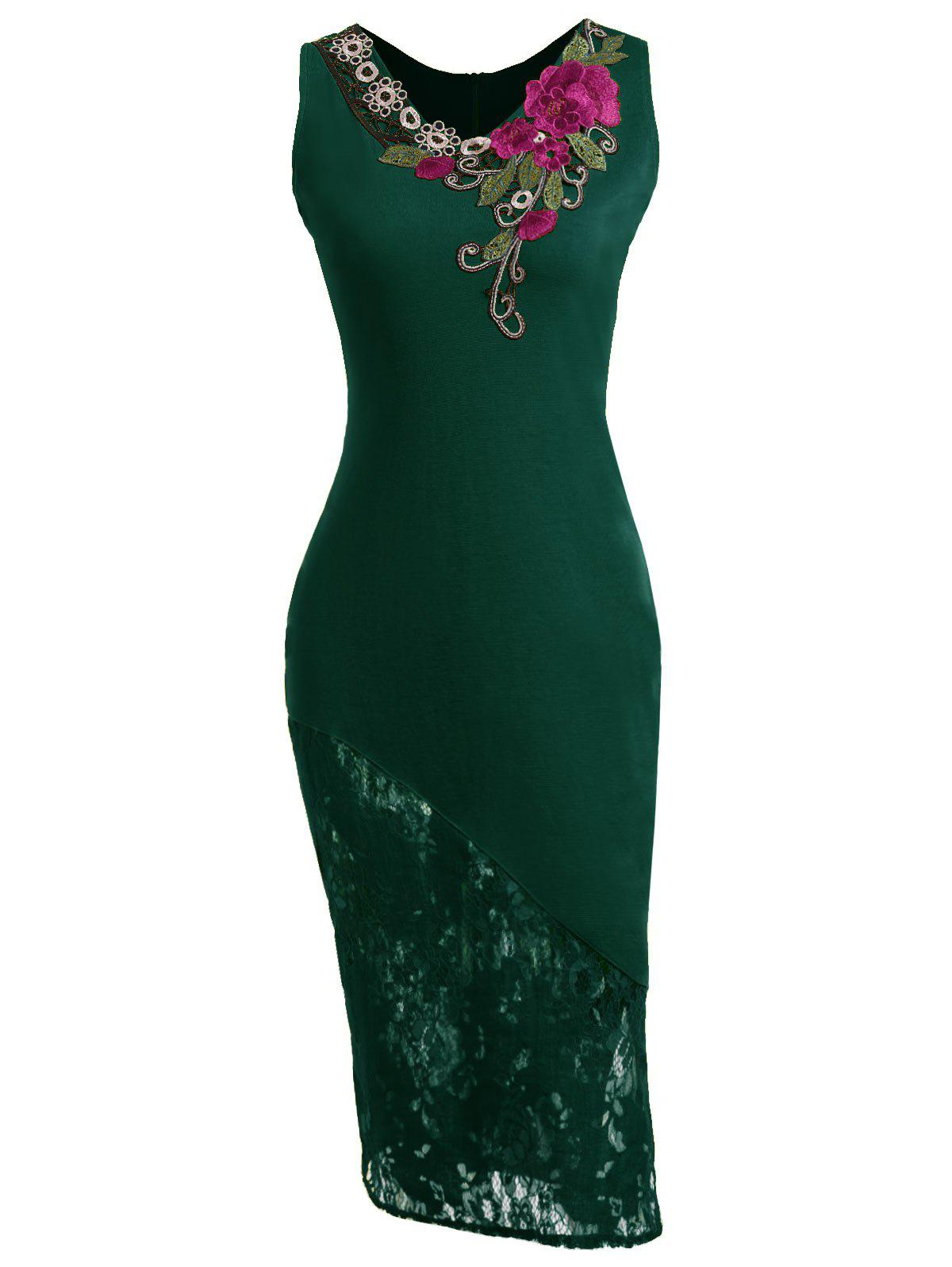 Embroidered Lace Insert Midi Bodycon Dress - GREEN L