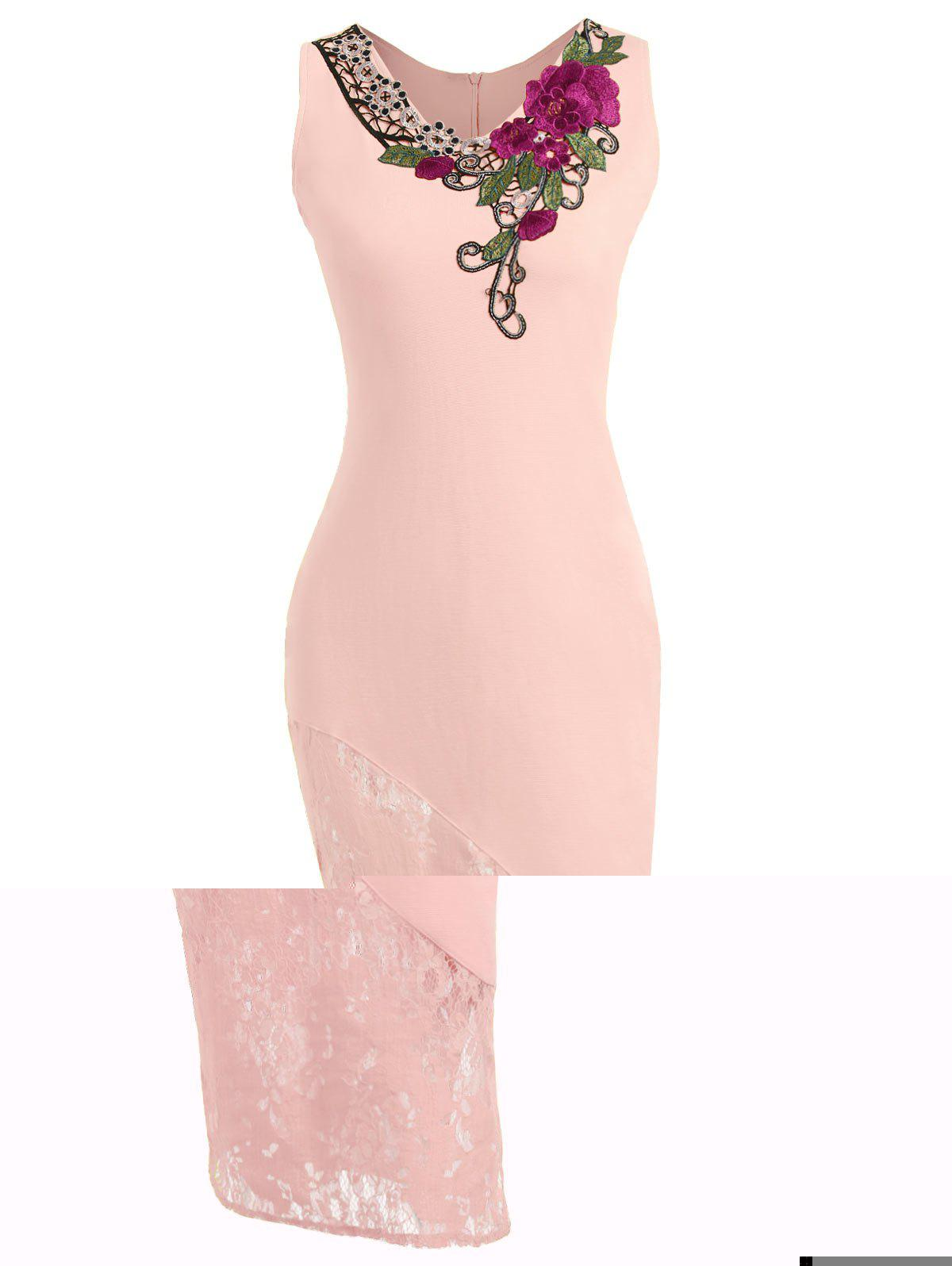 Embroidered Lace Insert Midi Bodycon Dress - LIGHT PINK XL
