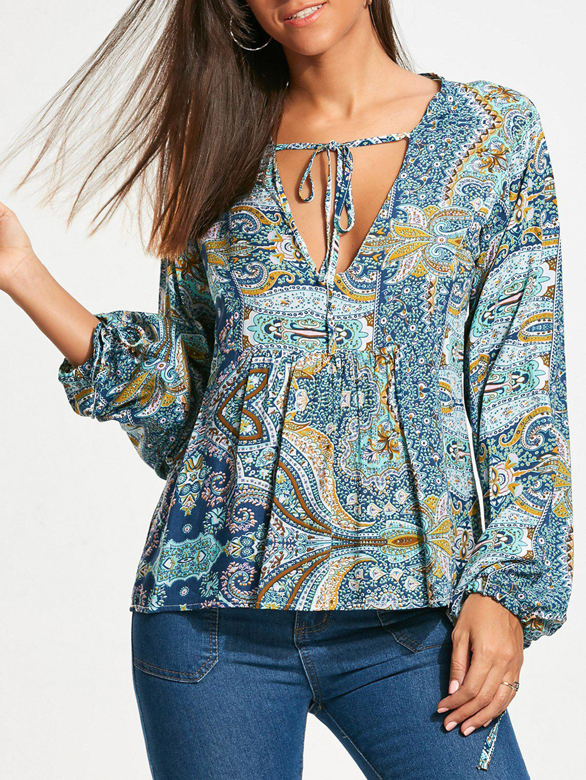 Long Sleeve Low Cut Paisley Smock Blouse - COLORMIX XL