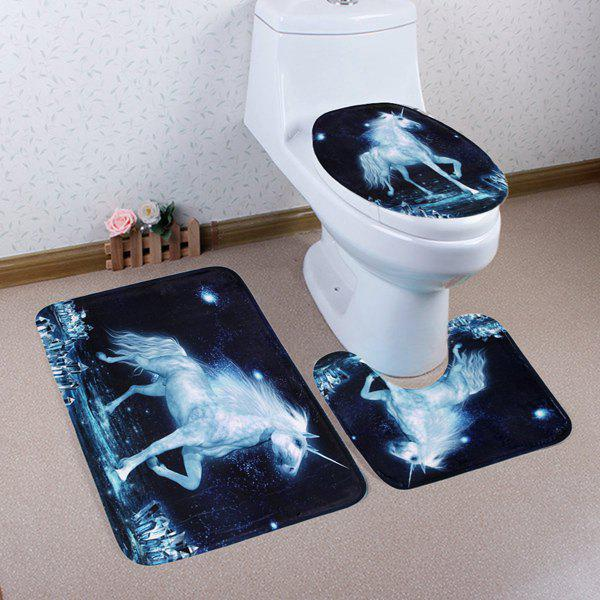 Unicorn Coral Fleece Non Slip 3Pcs Bathroom Rugs Set - MIDNIGHT