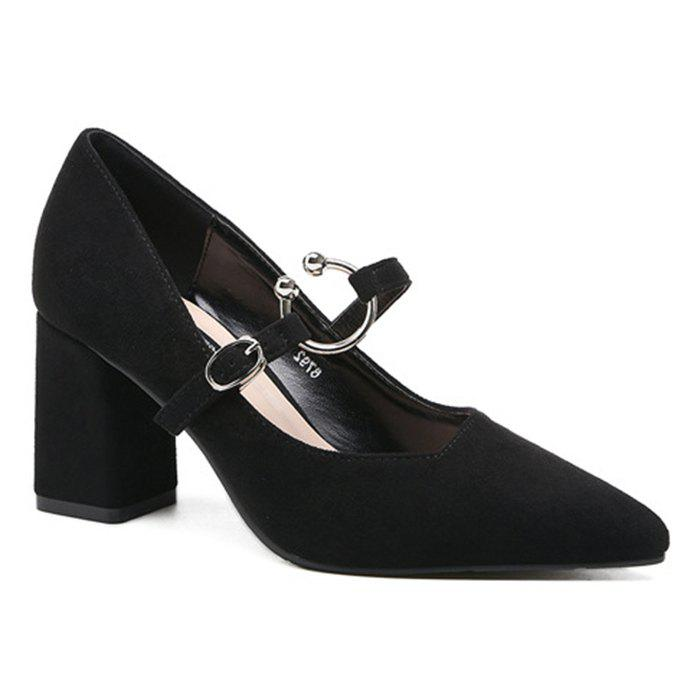 Block Heel Point Toe Suede Pumps - Noir 39