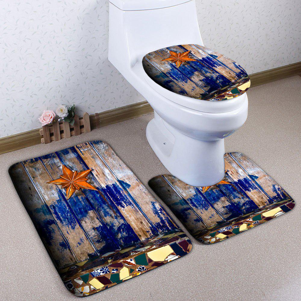 3Pcs/Set Starfish Wood Plank Pattern Bath Toilet Mat цена 2017