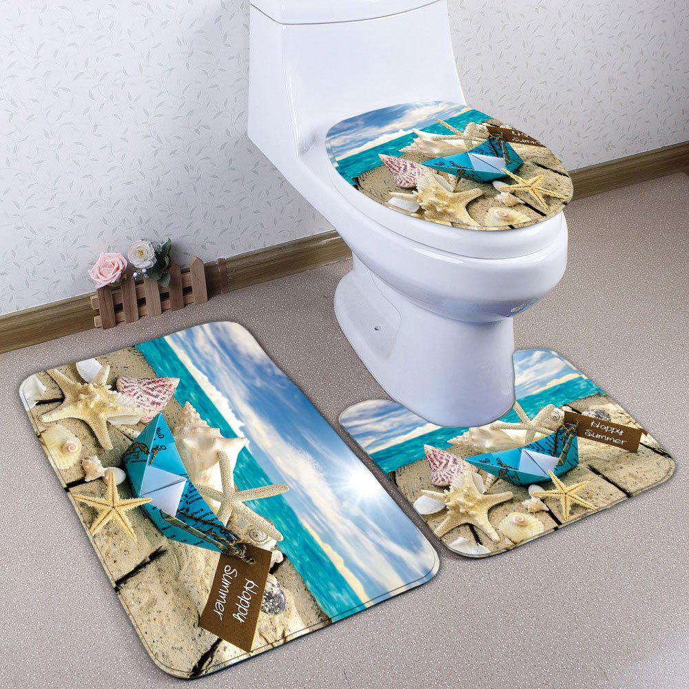 3Pcs / Set Wood Plank Starfish Imprimé Bath Toilet Tapis - multicolorcolore