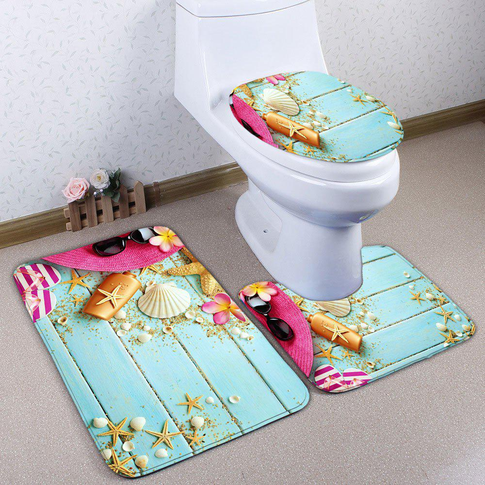3Pcs Wood Plank Starfish Print Ensemble de tapis de toilette - Bleu Clair