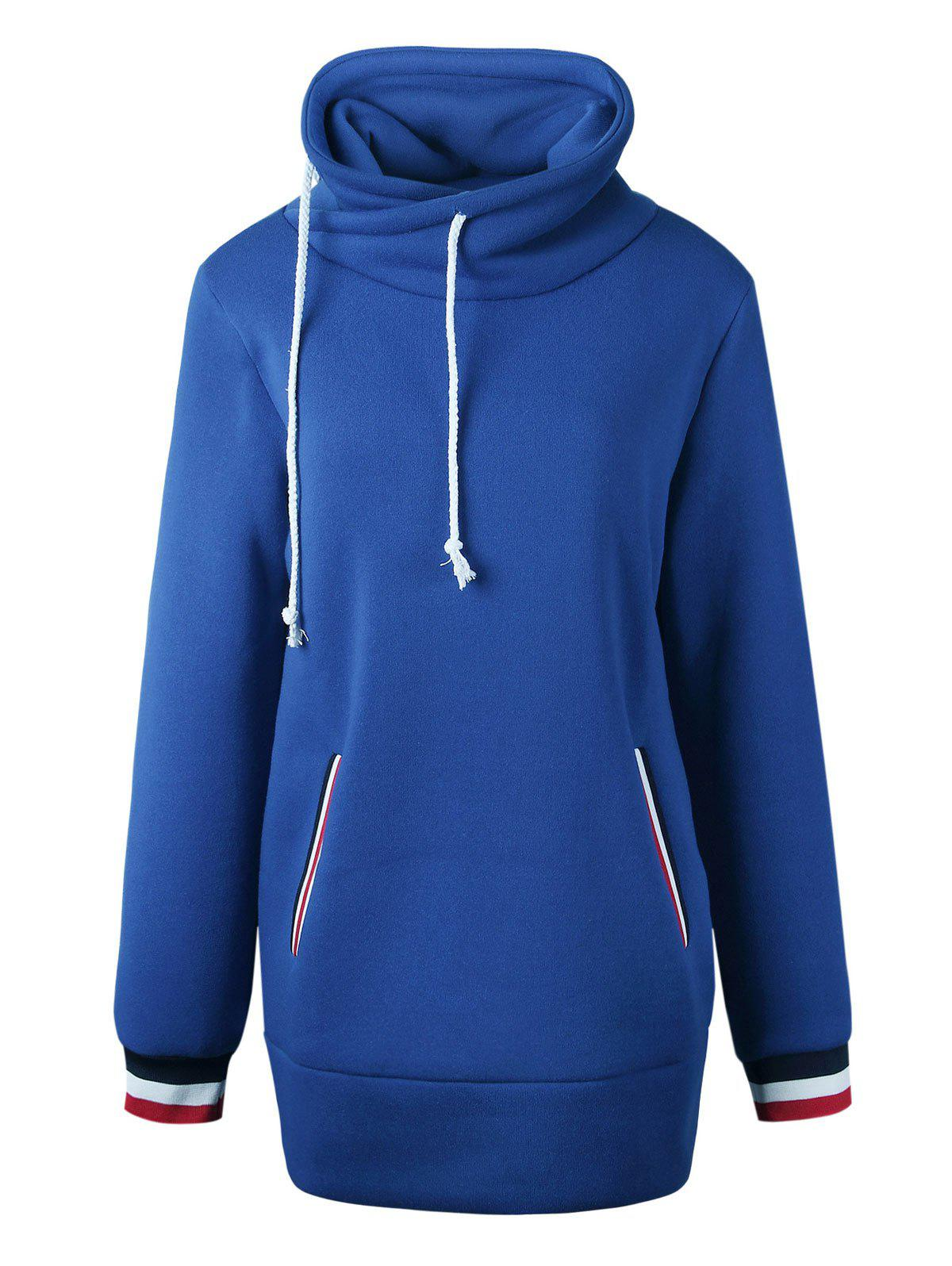 Long Mock Neck Pocket Drawstring Hoodie - BLUE L