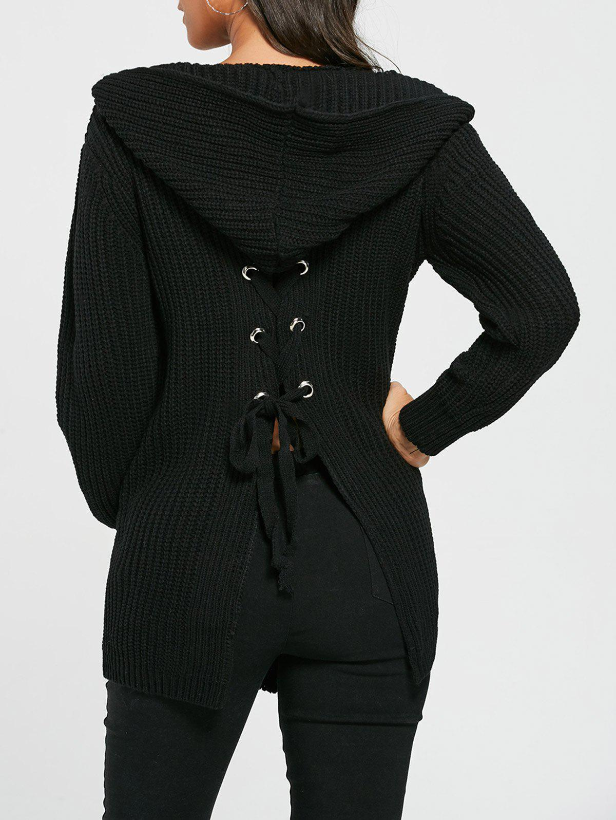 Open Front Back Lace Up Hooded Cardigan - BLACK ONE SIZE