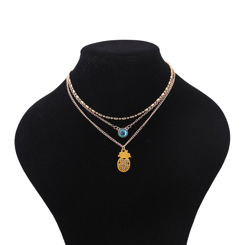 Rhinestoned Pineapple Pendant Chain Necklace - GOLDEN