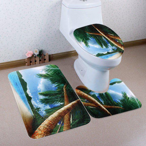 Beach Palm Trees Pattern 3 Pcs Bathroom Toilet Mat halloween bloody hand pattern 3 pcs bathroom toilet mat
